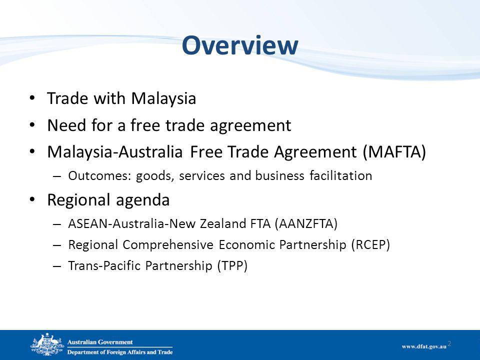 Overview Trade with Malaysia Need for a free trade agreement Malaysia-Australia Free Trade Agreement (MAFTA) – Outcomes: goods, services and business