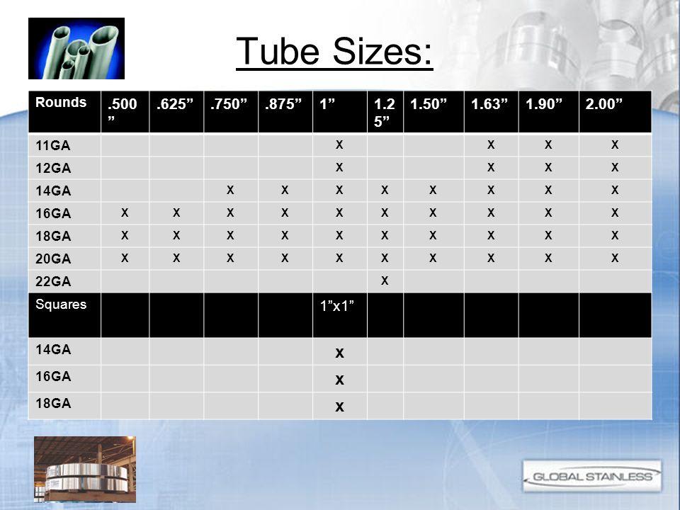 Tube Sizes: SIZE.500.625.750.87511.251.501.631.902.00 11GA XXXX 12GA XXXX 14GA XXXXXXXX 16GA XXXXXXXXXX 18GA XXXXXXXXXX 20GA XXXXXXXXXX 22GA X Rounds.