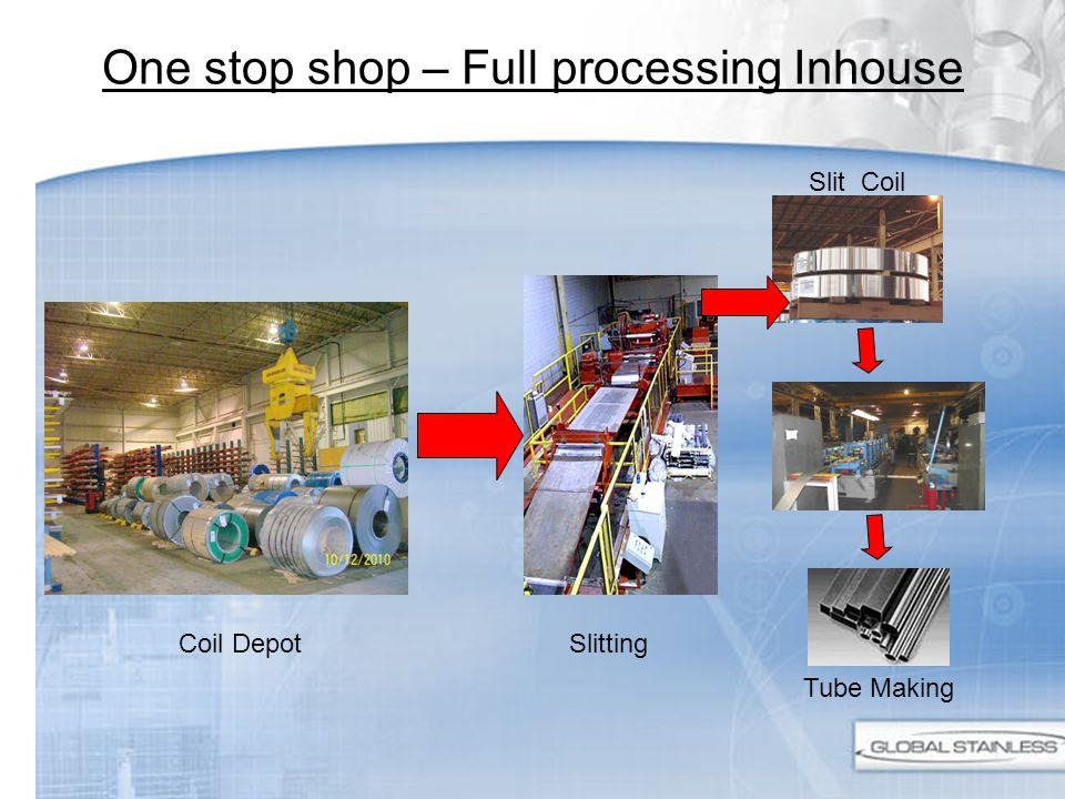 One stop shop – Full processing Inhouse Coil DepotSlitting Slit Coil Tube Making