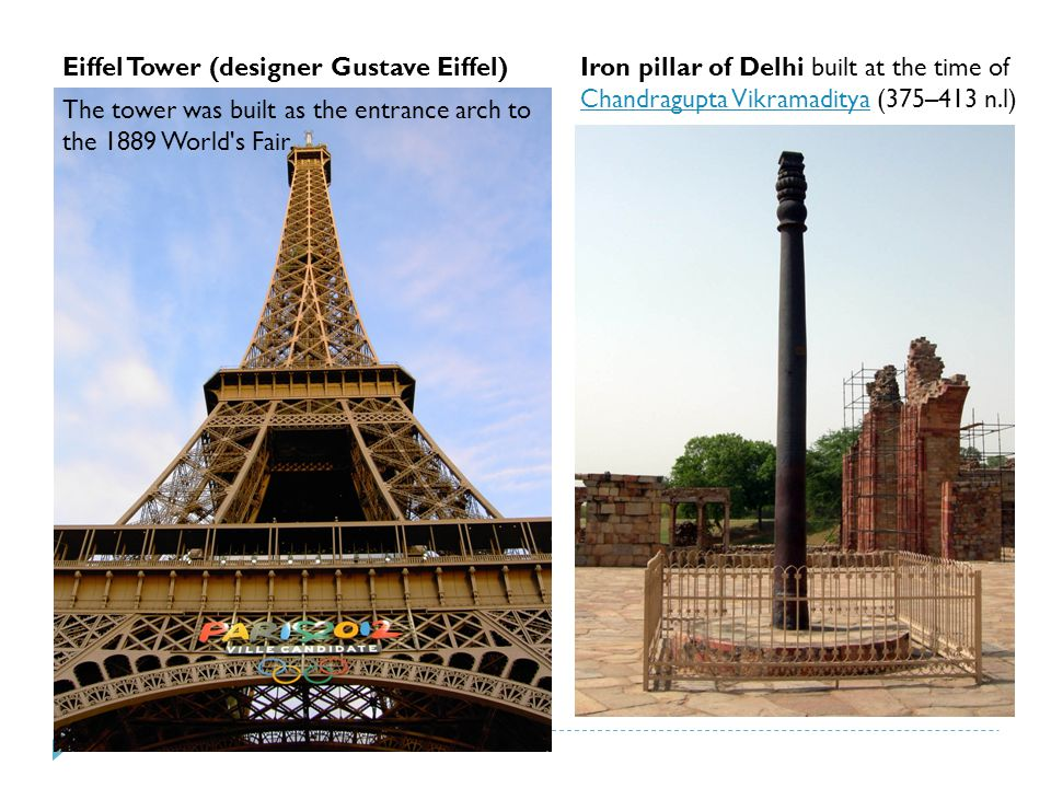 Iron pillar of Delhi built at the time of Chandragupta Vikramaditya (375–413 n.l) Chandragupta Vikramaditya Eiffel Tower (designer Gustave Eiffel) The