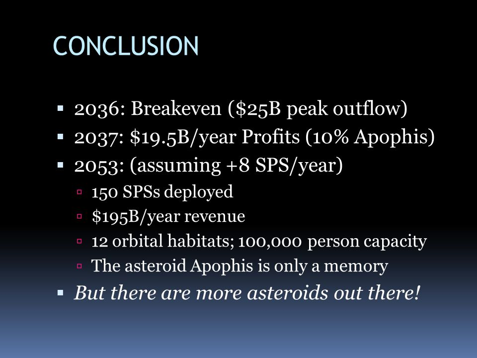 CONCLUSION 2036: Breakeven ($25B peak outflow) 2037: $19.5B/year Profits (10% Apophis) 2053: (assuming +8 SPS/year) 150 SPSs deployed $195B/year revenue 12 orbital habitats; 100,000 person capacity The asteroid Apophis is only a memory But there are more asteroids out there!