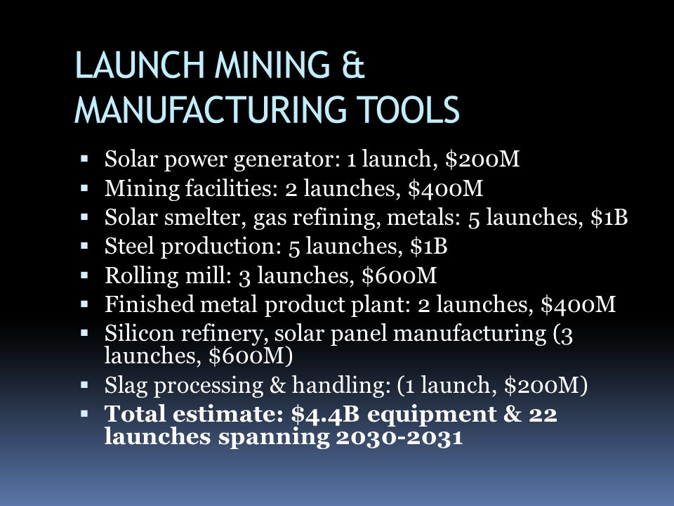 LAUNCH MINING & MANUFACTURING TOOLS Solar power generator: 1 launch, $200M Mining facilities: 2 launches, $400M Solar smelter, gas refining, metals: 5 launches, $1B Steel production: 5 launches, $1B Rolling mill: 3 launches, $600M Finished metal product plant: 2 launches, $400M Silicon refinery, solar panel manufacturing (3 launches, $600M) Slag processing & handling: (1 launch, $200M) Total estimate: $4.4B equipment & 22 launches spanning 2030-2031