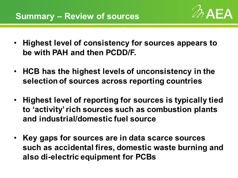Summary – Review of sources Highest level of consistency for sources appears to be with PAH and then PCDD/F.