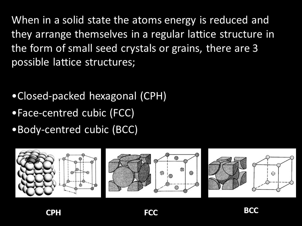 When in a solid state the atoms energy is reduced and they arrange themselves in a regular lattice structure in the form of small seed crystals or grains, there are 3 possible lattice structures; Closed-packed hexagonal (CPH) Face-centred cubic (FCC) Body-centred cubic (BCC) CPHFCC BCC