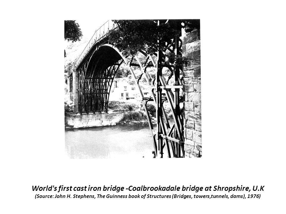 World s first cast iron bridge -Coalbrookadale bridge at Shropshire, U.K (Source: John H.