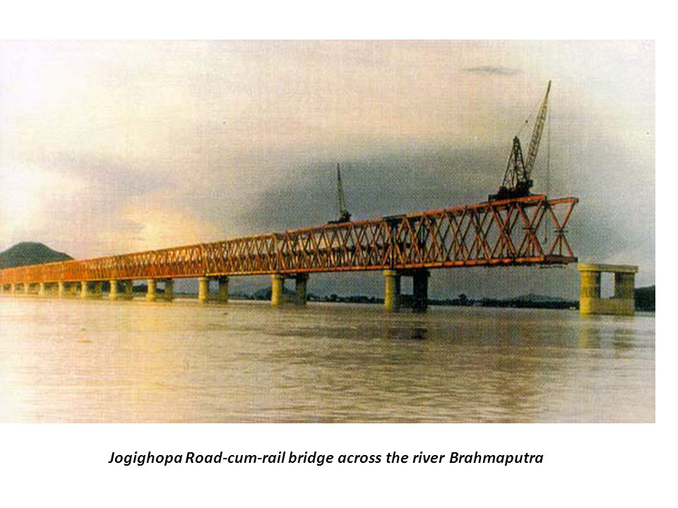 Jogighopa Road-cum-rail bridge across the river Brahmaputra