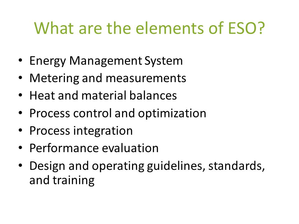 What are the elements of ESO.