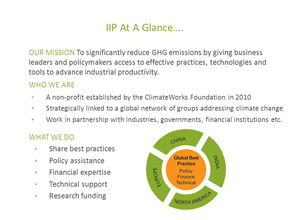 International practices CurrentFutureBarriers Varies by sector – cement, iron and steel, refining, petrochemicals Multinationals have well established systems Licensors of technology play an important role Plant certification schemes have important elements – ISO 50001 – GSEP (Global Superior Energy Performance) Lack of awareness Inability to invest resources Age of plant and technology Size of plant Practice in the sector and country