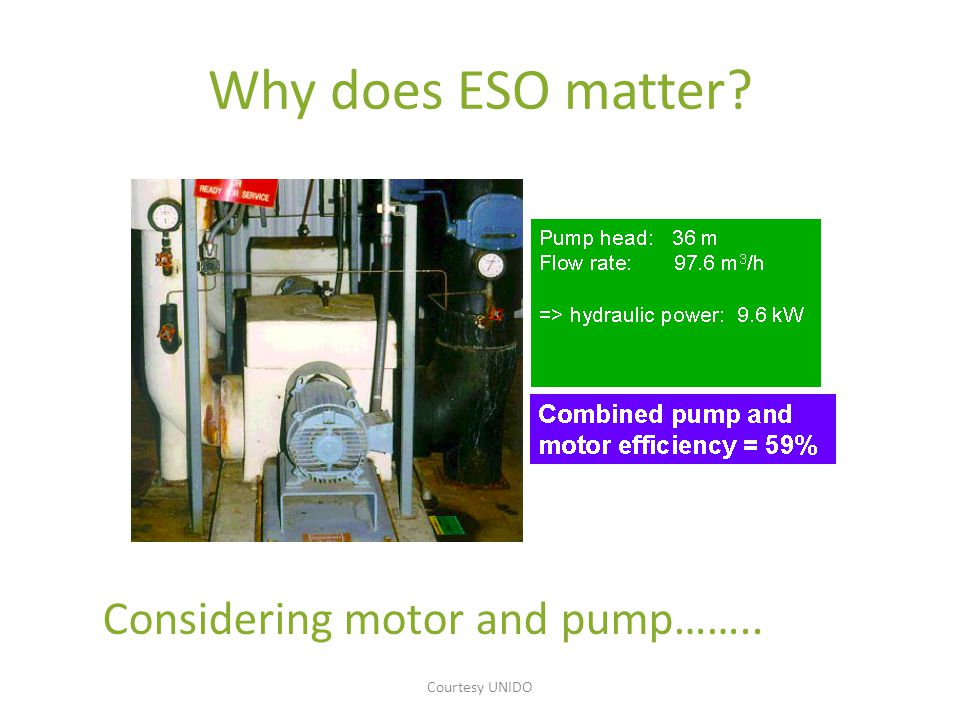 Why does ESO matter? Considering motor, pump, and discharge valve… Courtesy UNIDO