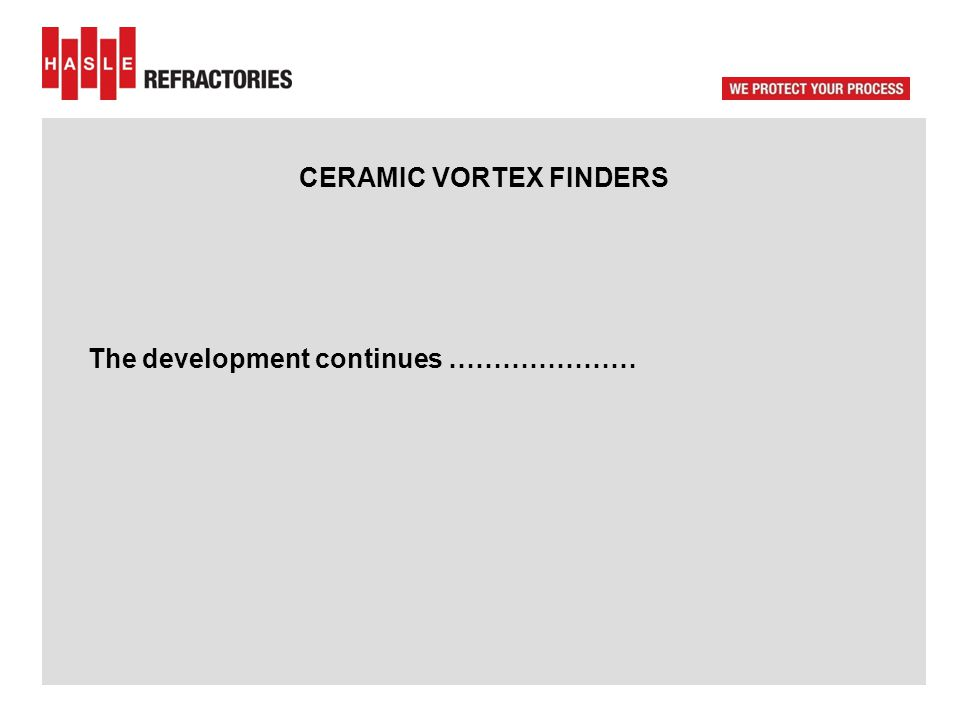 CERAMIC VORTEX FINDERS The development continues …………………