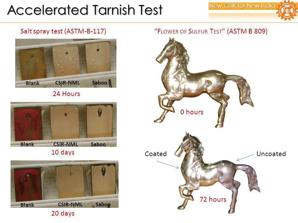 Blank Saboo CSIR-NML 24 Hours Salt spray test (ASTM-B-117) F LOWER OF S ULFUR T EST (ASTM B 809) 20 days Blank CSIR-NMLSaboo 10 days BlankCSIR-NMLSaboo 0 hours 72 hours UncoatedCoated New CSIR for New India Accelerated Tarnish Test Accelerated Tarnish Test