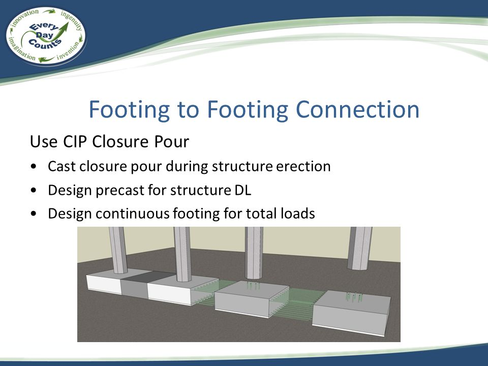 Footing to Footing Connection Use CIP Closure Pour Cast closure pour during structure erection Design precast for structure DL Design continuous footi