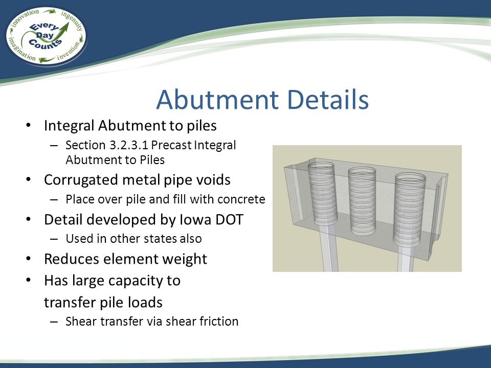 Abutment Details Integral Abutment to piles – Section 3.2.3.1 Precast Integral Abutment to Piles Corrugated metal pipe voids – Place over pile and fil