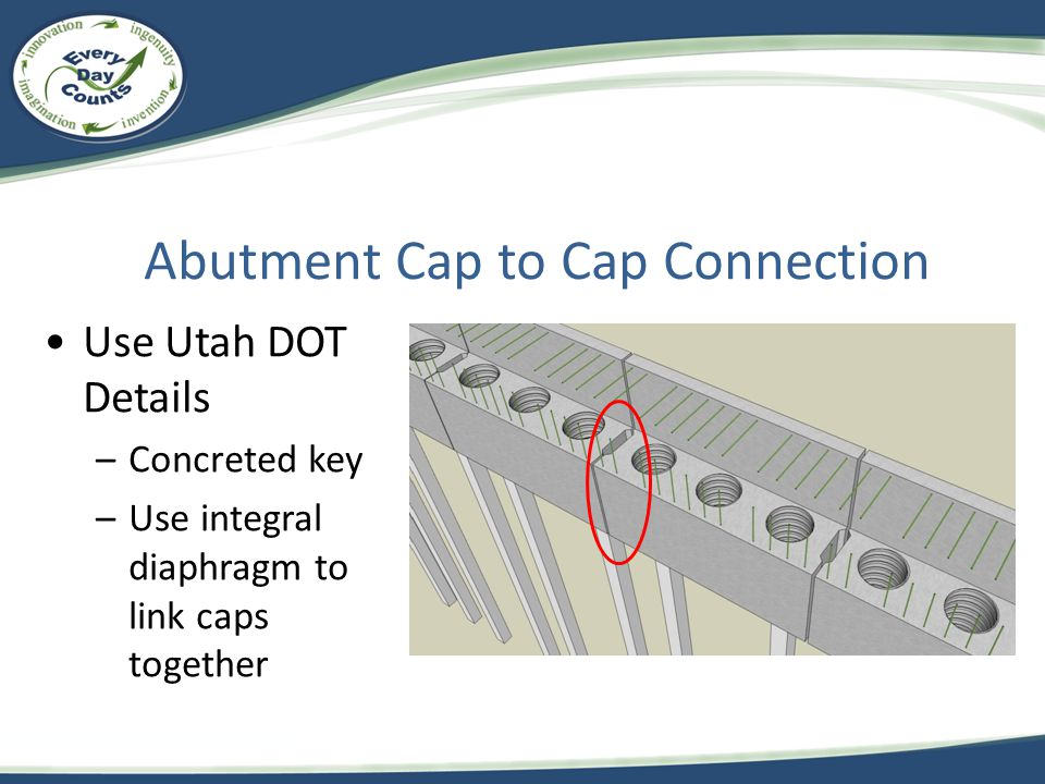 Abutment Cap to Cap Connection Use Utah DOT Details –Concreted key –Use integral diaphragm to link caps together