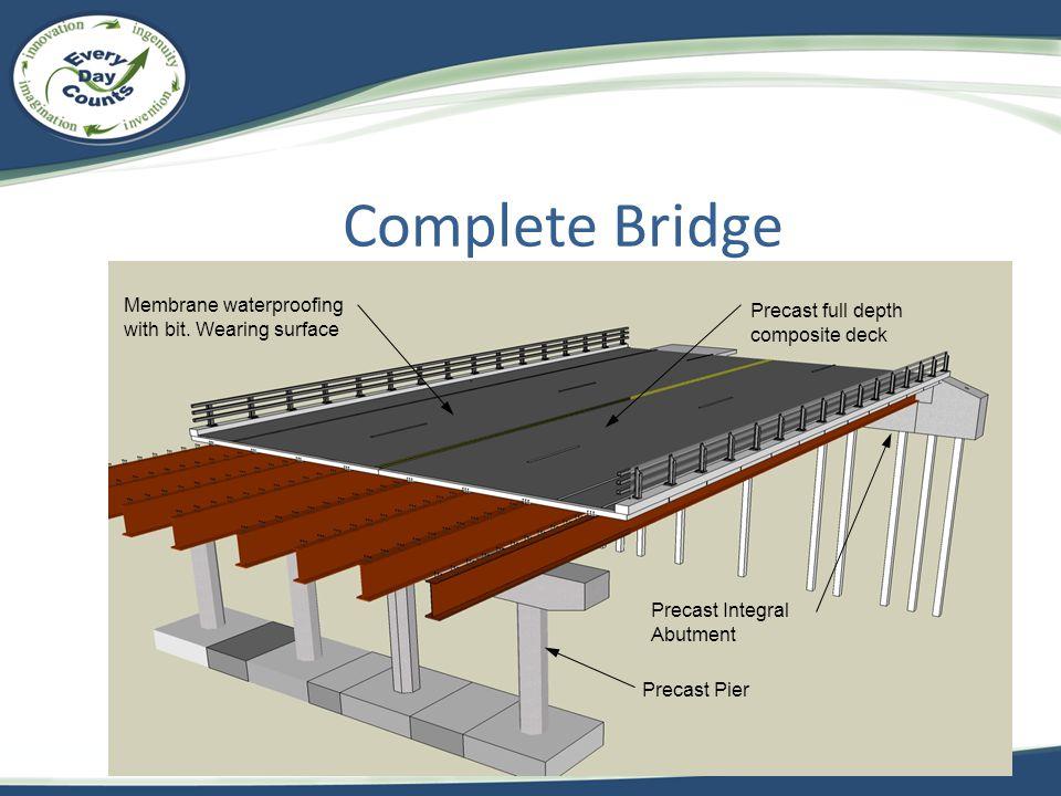Complete Bridge Precast Integral Abutment Membrane waterproofing with bit. Wearing surface Precast Pier Precast full depth composite deck