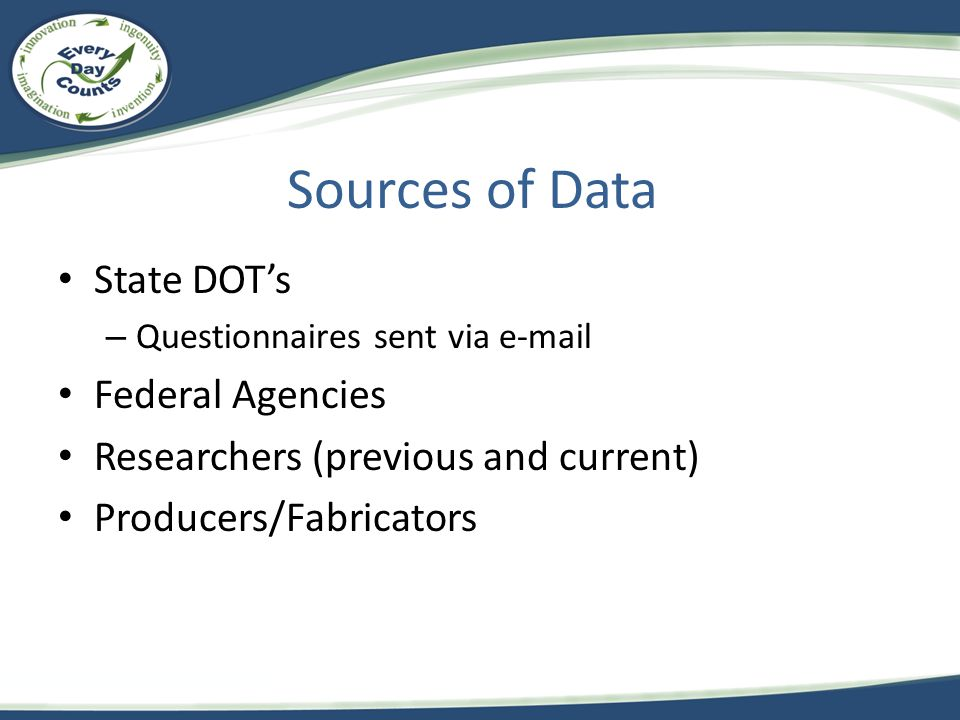 State DOTs – Questionnaires sent via e-mail Federal Agencies Researchers (previous and current) Producers/Fabricators Sources of Data