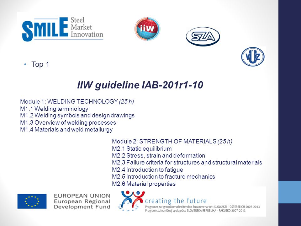 Top 1 IIW guideline IAB-201r1-10 Module 1: WELDING TECHNOLOGY (25 h) M1.1 Welding terminology M1.2 Welding symbols and design drawings M1.3 Overview o