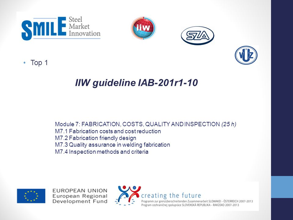 Top 1 IIW guideline IAB-201r1-10 Module 7: FABRICATION, COSTS, QUALITY AND INSPECTION (25 h) M7.1 Fabrication costs and cost reduction M7.2 Fabricatio