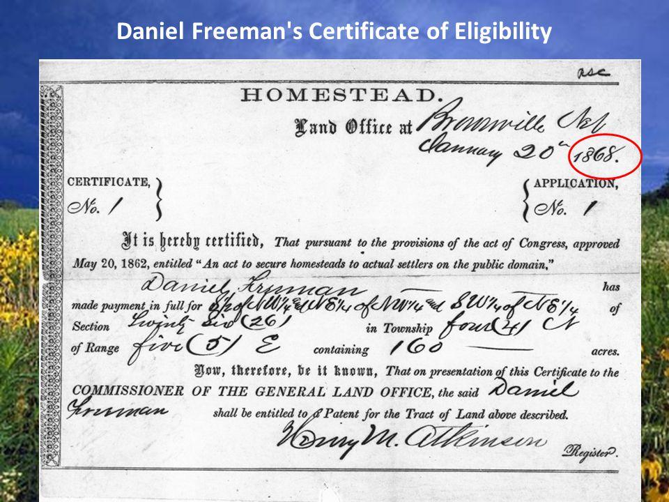 Daniel Freeman's Certificate of Eligibility
