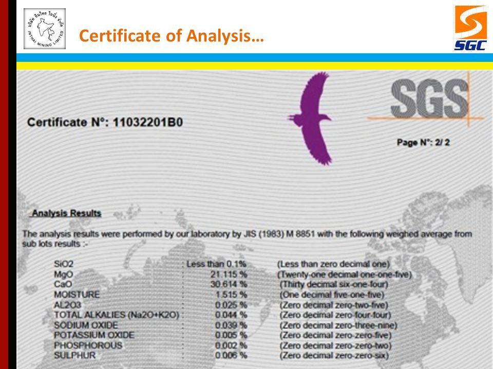 Certificate of Analysis…