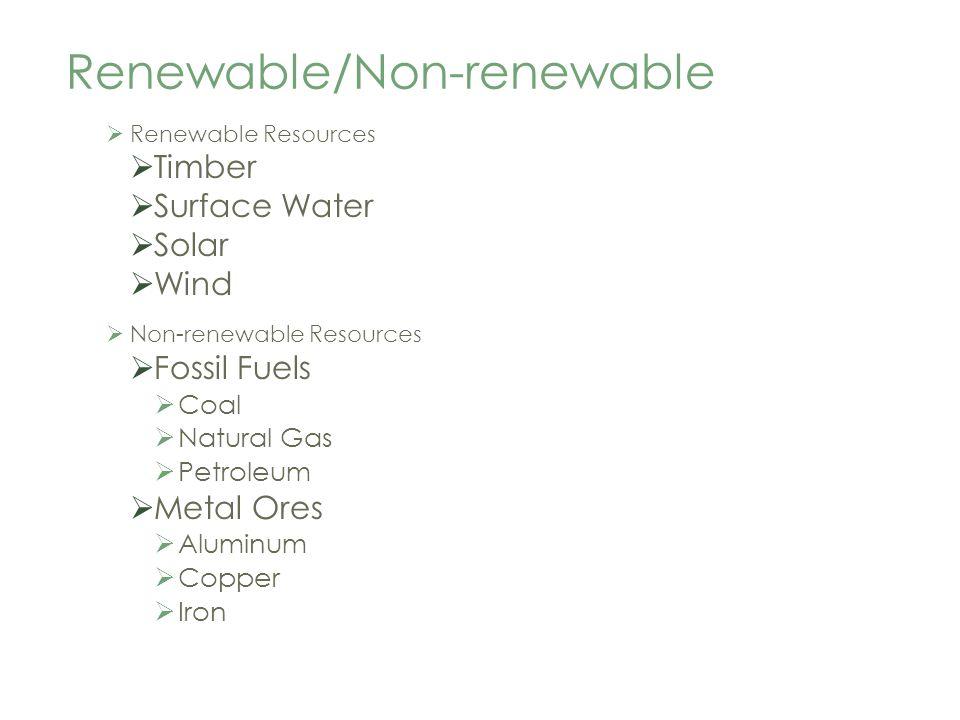 Renewable/Non-renewable Renewable Resources Timber Surface Water Solar Wind Non-renewable Resources Fossil Fuels Coal Natural Gas Petroleum Metal Ores