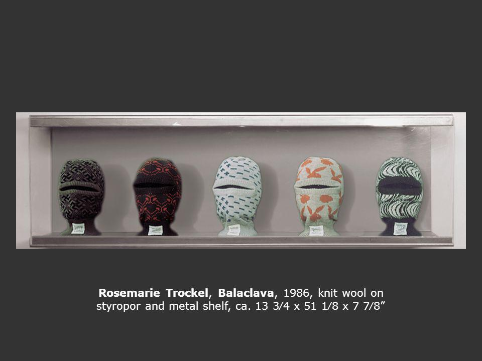 Rosemarie Trockel, Balaclava, 1986, knit wool on styropor and metal shelf, ca. 13 34 x 51 18 x 7 78