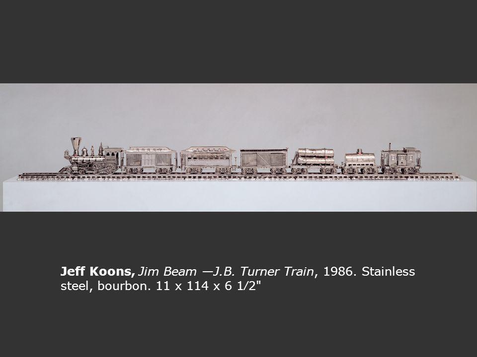 Jeff Koons, Jim Beam J.B. Turner Train, 1986. Stainless steel, bourbon. 11 x 114 x 6 12