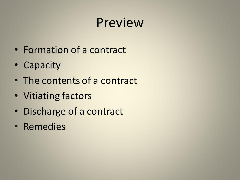 Preview Formation of a contract Capacity The contents of a contract Vitiating factors Discharge of a contract Remedies