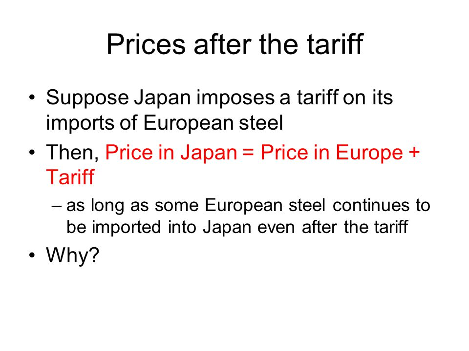 Gains and Losses from Tariffs: Importing Country The loss to the country that imposes the tariff (Japan) include I and K, which represents the loss of the gains from trade.