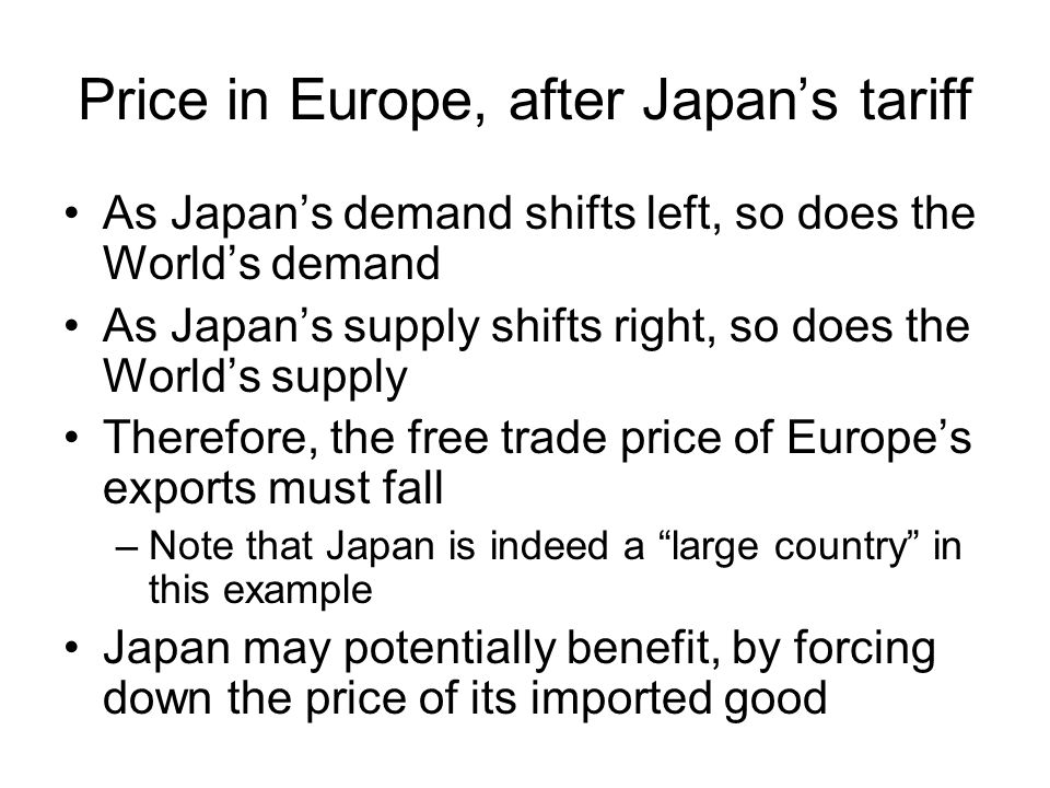 Price EuropeJapanWorld+= Quantity Recall: The free trade worldwide price is the price at which excess demand in one country is equal to the excess supply in the other country.