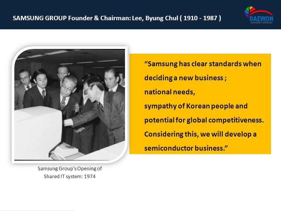 SAMSUNG GROUP Founder & Chairman: Lee, Byung Chul ( 1910 - 1987 ) Samsung Groups Opening of Shared IT system: 1974 Samsung has clear standards when de