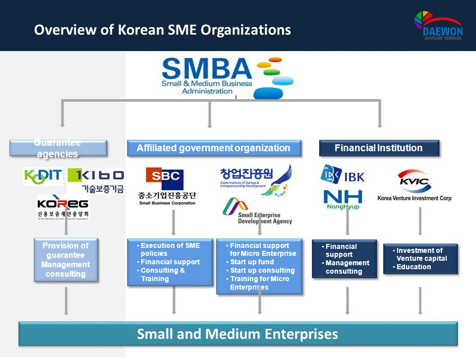 Small and Medium Enterprises Affiliated government organization Guarantee agencies Financial Institution Execution of SME policies Financial support C
