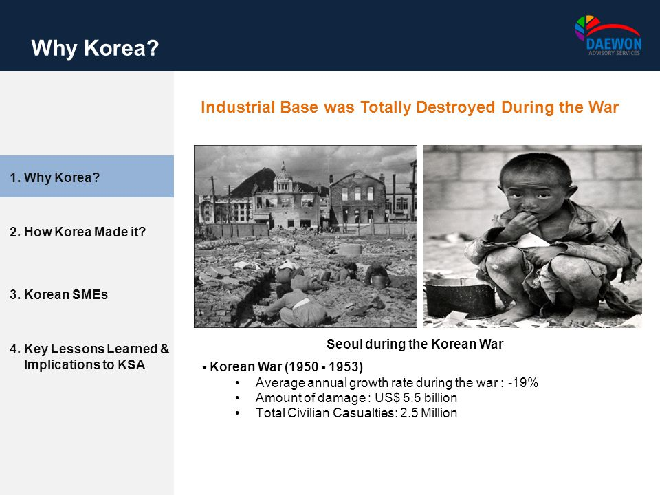 2. How Korea Made it? 3. Korean SMEs 4. Key Lessons Learned & Implications to KSA 1. Why Korea? Why Korea? Industrial Base was Totally Destroyed Durin