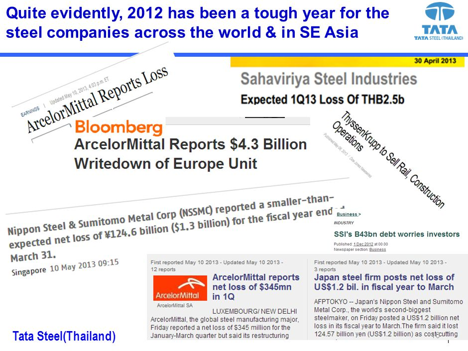 Tata Steel(Thailand) 1 Quite evidently, 2012 has been a tough year for the steel companies across the world & in SE Asia 10