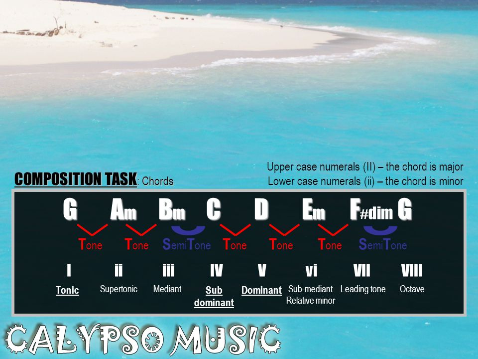 Rhythm: Rhythm: Off beat 1&2&3&4& The offbeat rhythm is the essential ingredient in calypso music. It generates the feel for the piece. Listen to the