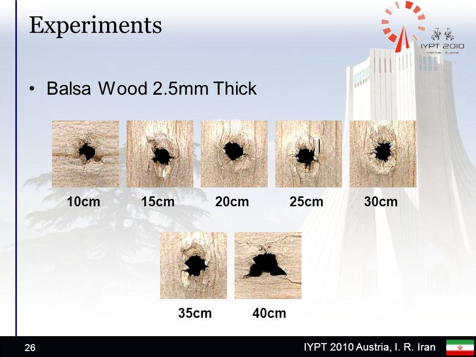IYPT 2010 Austria, I. R. Iran Experiments Balsa Wood 2.5mm Thick 26 10cm15cm20cm30cm 40cm 25cm 35cm