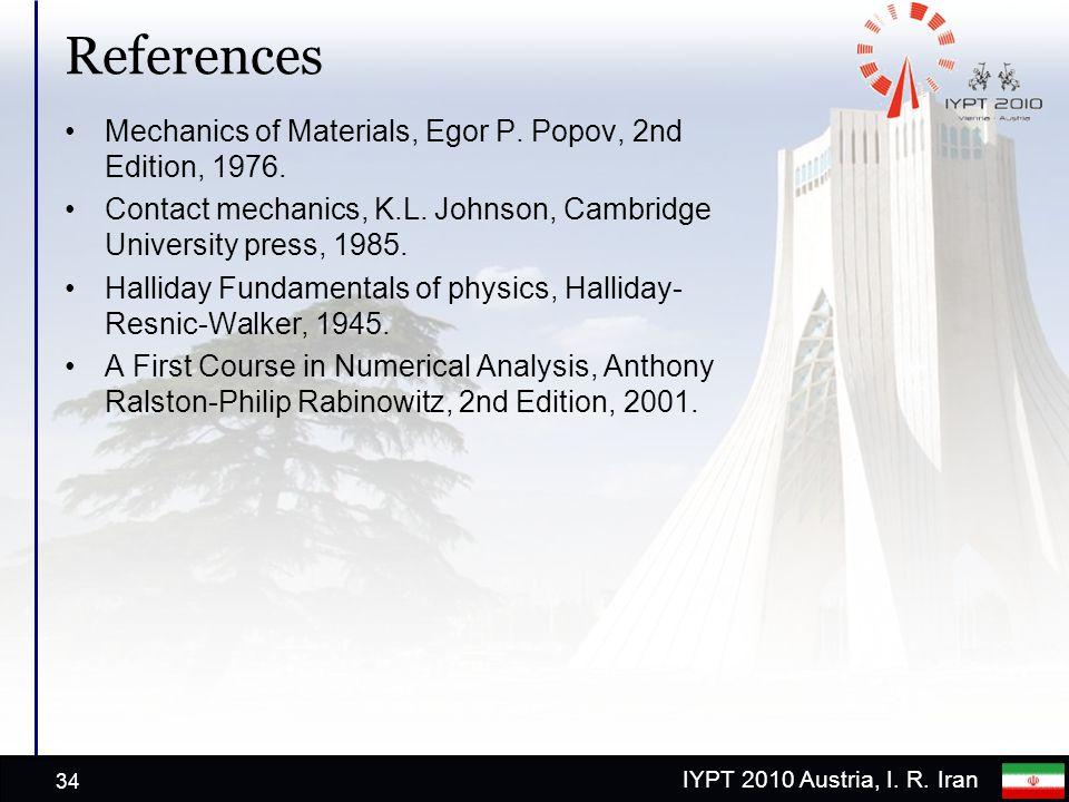 IYPT 2010 Austria, I. R. Iran References Mechanics of Materials, Egor P.