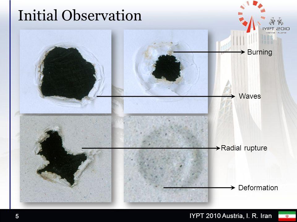IYPT 2010 Austria, I. R. Iran Initial Observation 5 Deformation Waves Radial rupture Burning