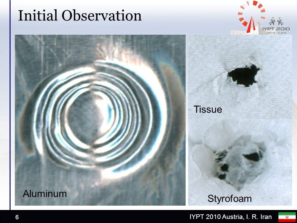 IYPT 2010 Austria, I. R. Iran Initial Observation 6 Aluminum Tissue Styrofoam