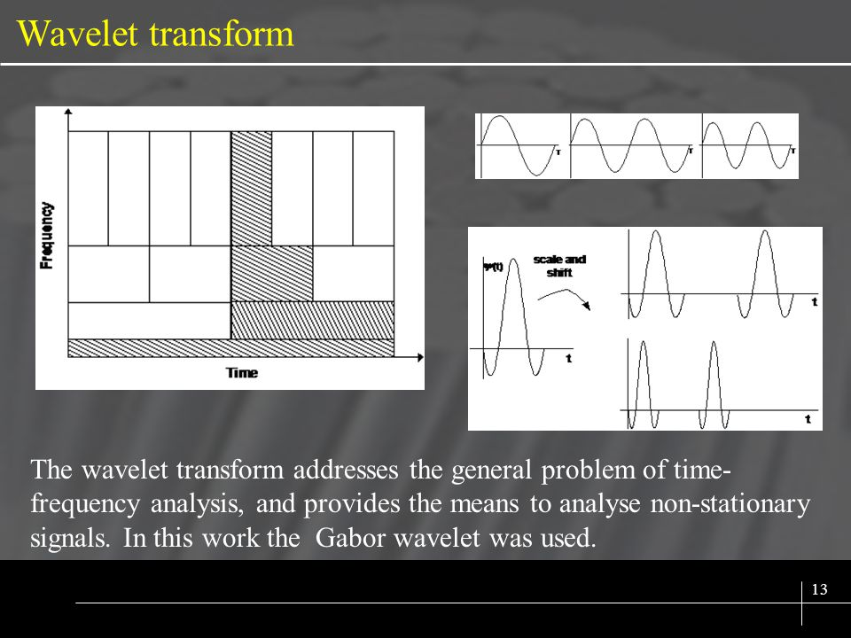 SIX SIGMA 13 Wavelet transform The wavelet transform addresses the general problem of time- frequency analysis, and provides the means to analyse non-