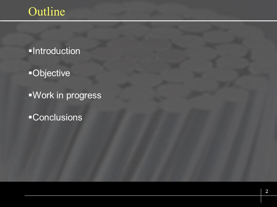 SIX SIGMA 2 Outline Introduction Objective Work in progress Conclusions
