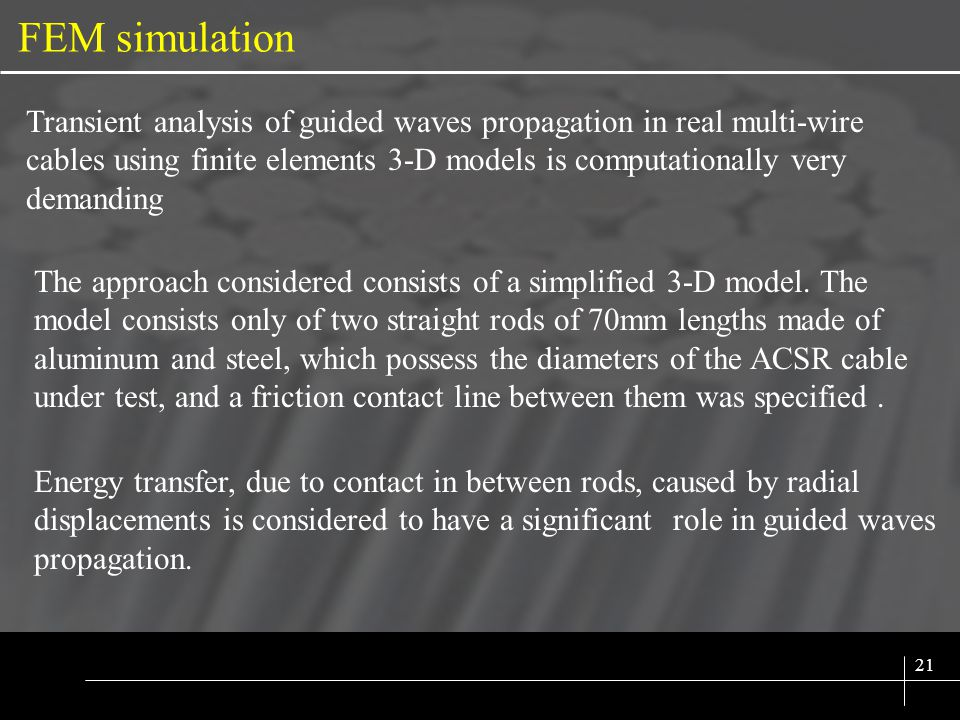 SIX SIGMA 21 FEM simulation Transient analysis of guided waves propagation in real multi-wire cables using finite elements 3-D models is computationally very demanding The approach considered consists of a simplified 3-D model.
