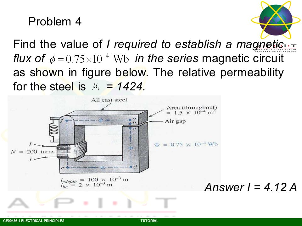 CE00436-1 ELECTRICAL PRINCIPLESTUTORIAL Problem 5 Determine the value of I required to establish a magnetic flux of Wb in the section of the core indicated in figure below.