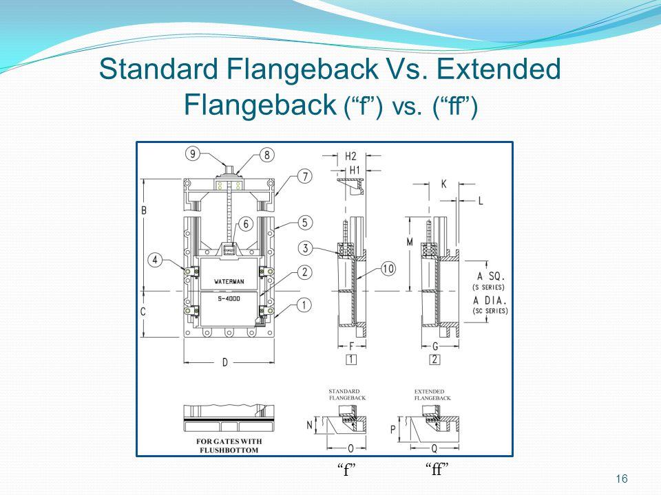 Standard Flangeback Vs. Extended Flangeback (f) vs. (ff) f ff 16
