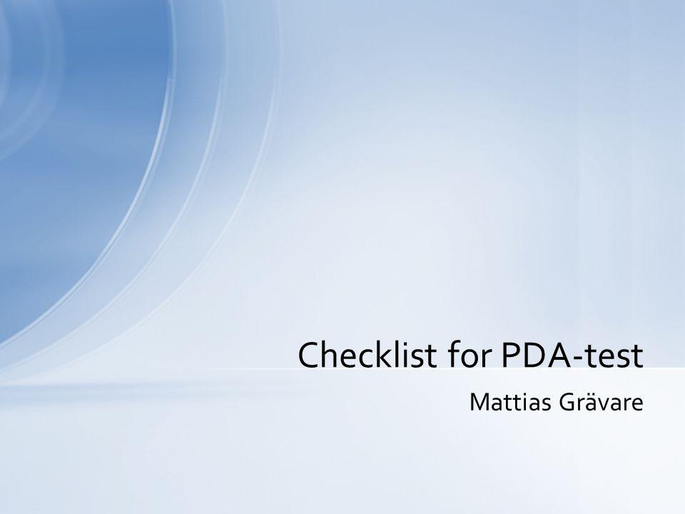Mattias Grävare Checklist for PDA-test