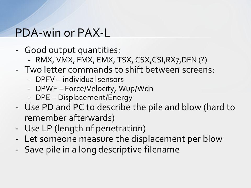 -Good output quantities: -RMX, VMX, FMX, EMX, TSX, CSX,CSI,RX7,DFN (?) -Two letter commands to shift between screens: -DPFV – individual sensors -DPWF