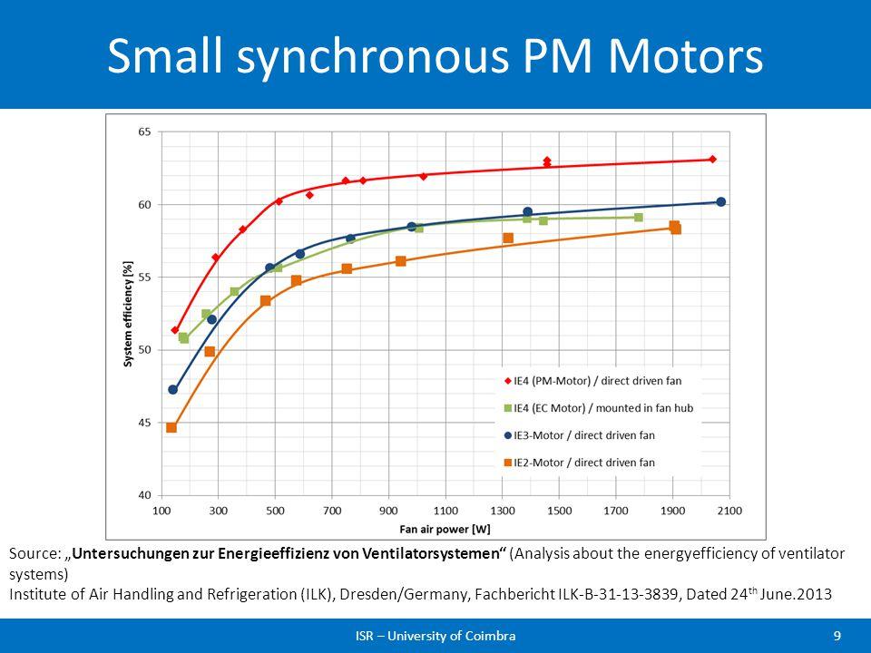 Small synchronous PM Motors ISR – University of Coimbra9 Source: Untersuchungen zur Energieeffizienz von Ventilatorsystemen (Analysis about the energy