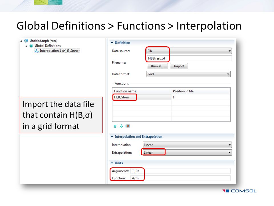 Global Definitions > Functions > Interpolation Import the data file that contain H(B,σ) in a grid format