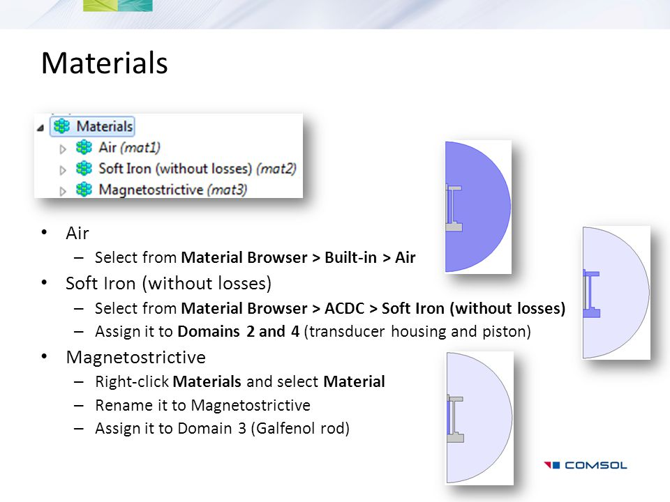 Materials Air – Select from Material Browser > Built-in > Air Soft Iron (without losses) – Select from Material Browser > ACDC > Soft Iron (without lo