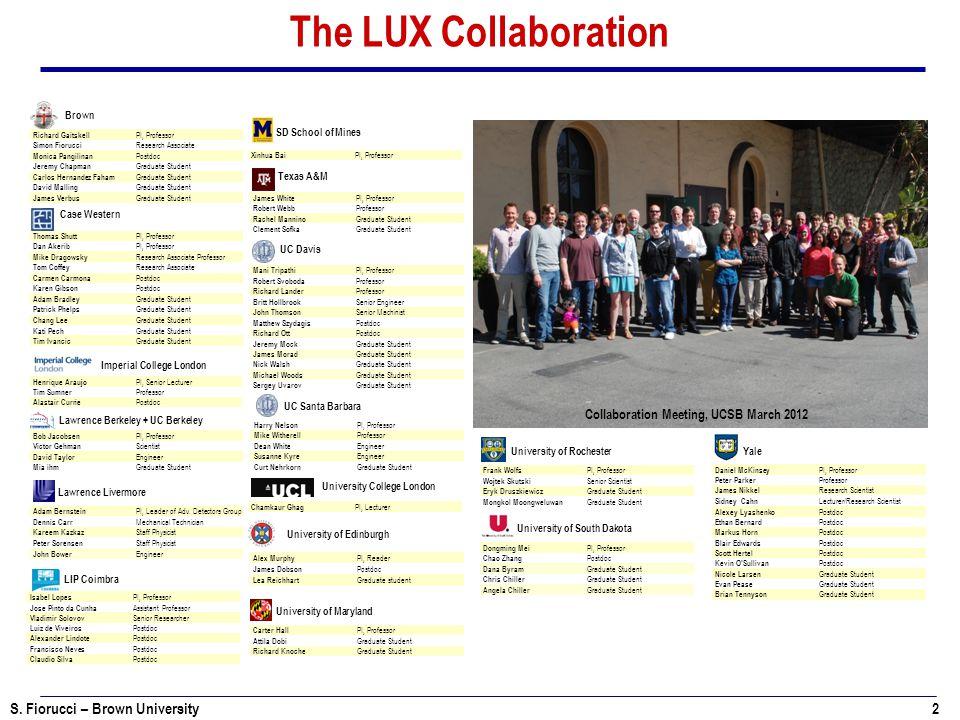 S. Fiorucci – Brown University 2 The LUX Collaboration Richard Gaitskell PI, Professor Simon Fiorucci Research Associate Monica Pangilinan Postdoc Jer